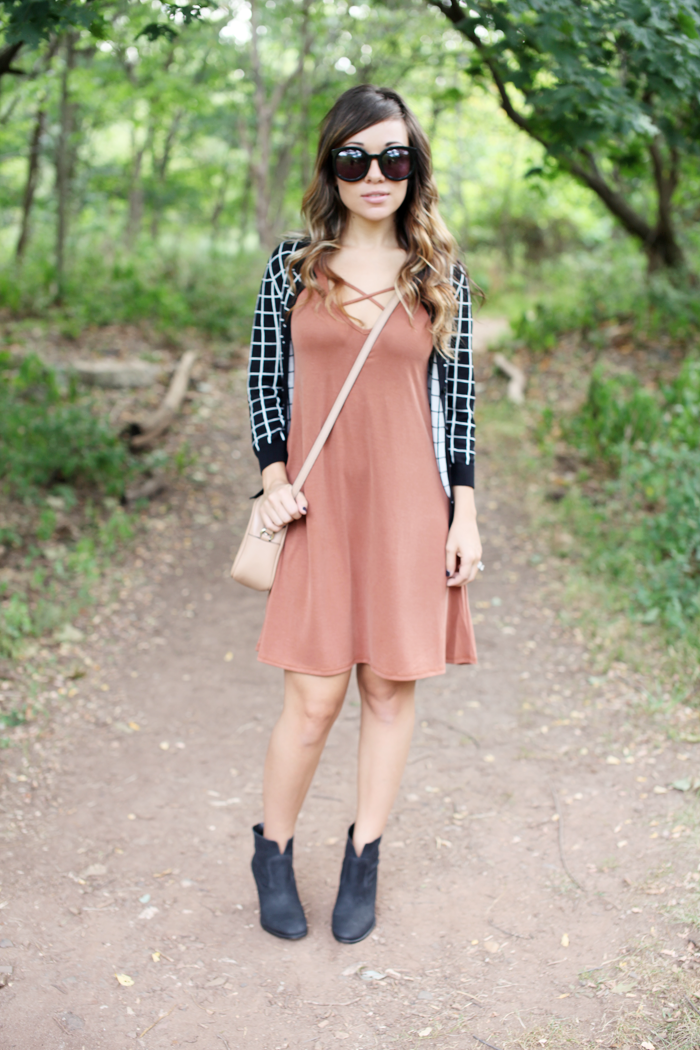 See how to style this burnt orange dress from day to night with a cardigan from fashion and lifestyle blogger, Little Tree Vintage.