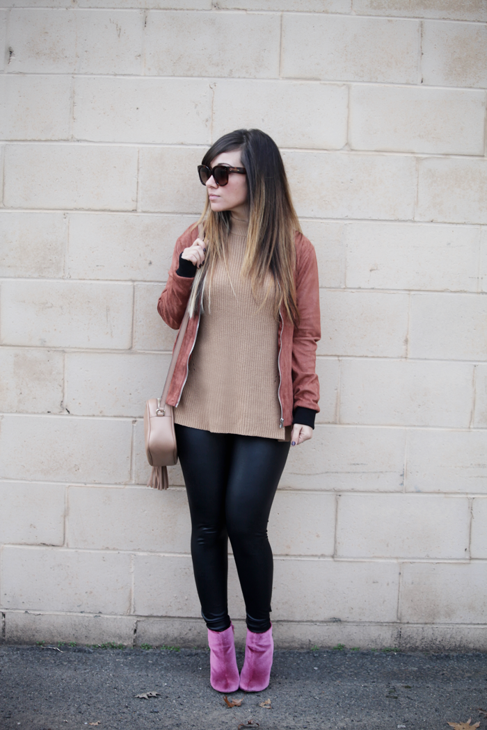 Fashion blogger Little Tree Vintage styles this suede moto jacket for Winter.