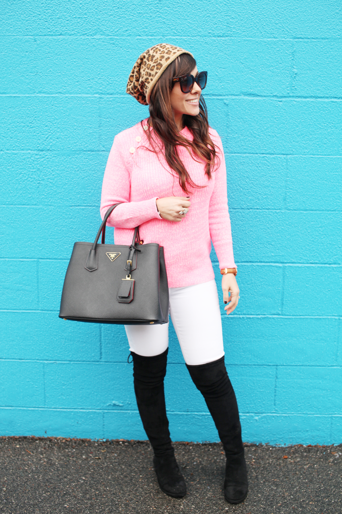 Fashion, lifestyle, and beauty blogger Little Tree Vintage to shows us how to add color,white denim, and over the knee boots to a winter wardrobe.