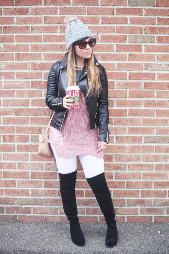 Cozy & Edgy winter fashion with moto jacket, comfy sweater, white denim, and over the knee boots. Learn how to style this edgy winter outfit with fashion, lifestyle, and beauty blogger Little Tree Vintage.