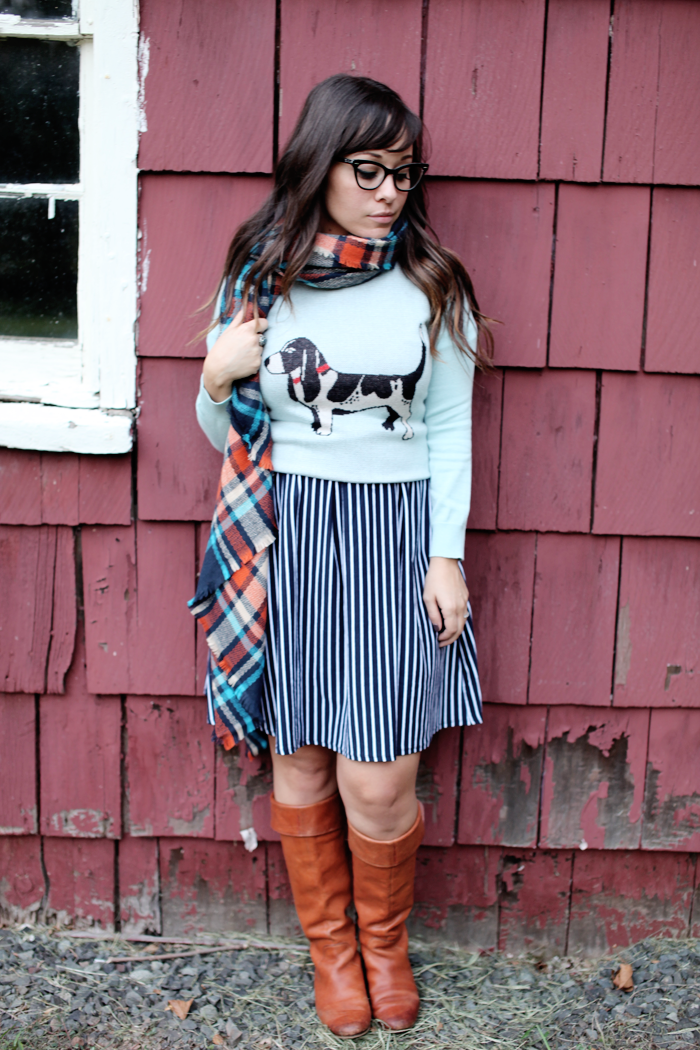 See how fashion, lifestyle, and beauty blogger Little Tree Vintage styles this one dress two ways with knee boots and a scarf for Fall!