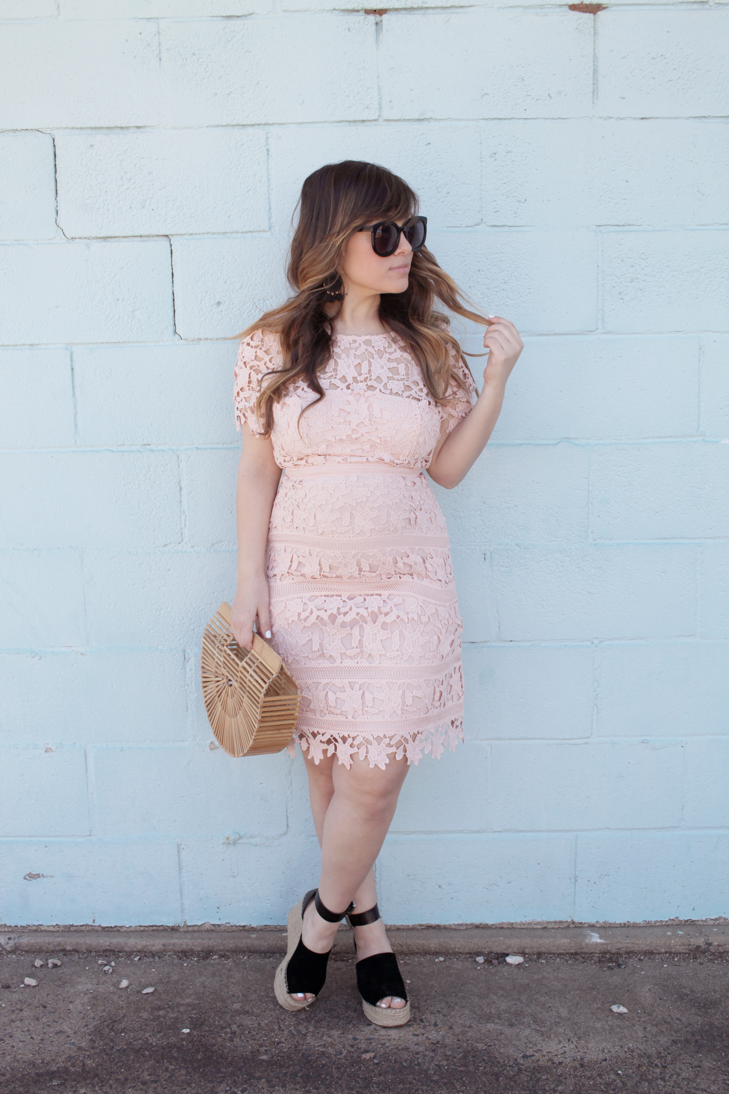 Are you on the hunt for easter dresses? Little Tree Vintage, a fashion and lifestyle blogger is sharing the perfect easter dress! | Pink Dress for Easter | Espadrilles | Sunglasses